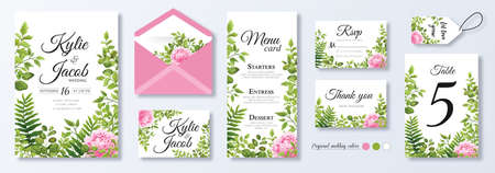 Wedding invite, menu, rsvp, thank you, label, save the date card, table number, envelope. Design with pink peony flowers, natural branches, green leaves, herbs. Vector cute rustic delicate chic layout Ilustracja
