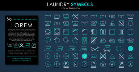 Laundry icons set. Outline set of colors laundry symbols vector icons isolated on black background