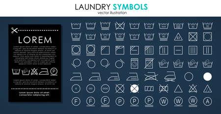 Laundry icons set. Outline set of white laundry symbols vector icons isolated on black background