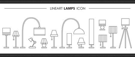 Set lamps hand drawn line icons. Outline illustration of interior architecture vector for web design