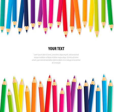 Vector banner collection crayons colored pencil loosely arranged with space for write text