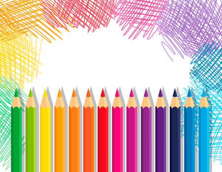 Vector collection crayons colored pencil loosely arranged