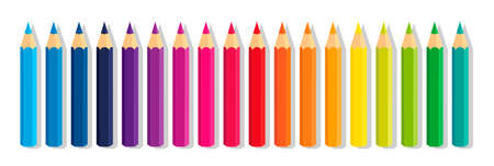 Vector collection crayons colored pencil loosely arranged 일러스트