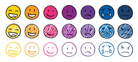 Hand drawn emotion faces, ranking scale smiles vector illustration. Positive, negative and neutral human expressions. Bad and good review rating, user satisfaction. Happy, angry and sad emoticons