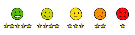 Five hand drawn icon set with stars customer product or seller rating review colorful flat icon scale for apps, ui and websites