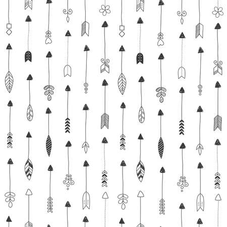 Vector seamless pattern, repeating abstract Indian arrows. Light modern simple wallpaper monochrome graphic element. Clean design for fabric, wallpaper, background.