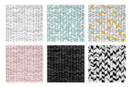 Set of abstract textures and scribble design elements. Vector illustration. Ilustração Vetorial