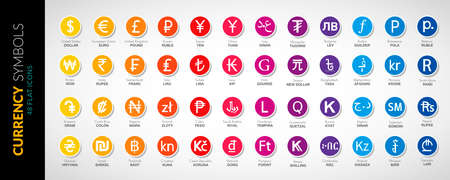 Currency icons vector flat illustration 48