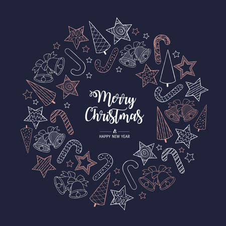 Modern circle greeting card Merry Christmas. Vector illustration with Christmas tree, bells, stars, and Candy Cane. In the colors rose gold, white and navy blue.