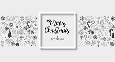 monochrome greeting card Merry Christmas background. Vector illustration with Christmas elements snowflakes, trees, stars, Candy Cane, gifts. Illustration