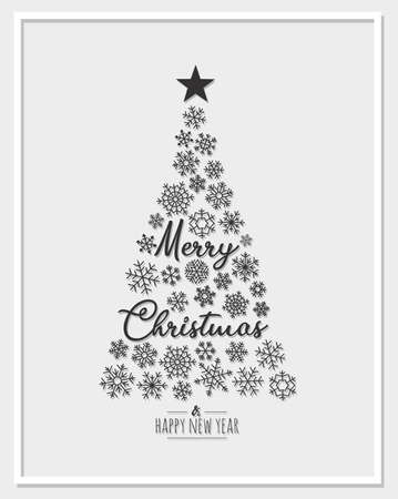 Modern circle greeting card Merry Christmas. Vector illustration with Christmas tree and star. In the colors black, white and gray.