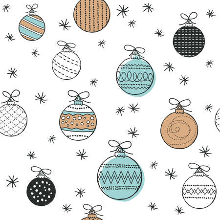 Cute seamless pattern with baubles. Hand Drawn vector illustration. Wrapping paper pattern. Background with abstract elements.