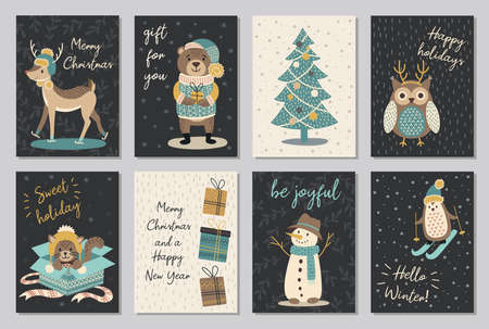 Set of modern hand drawn christmas gretting cards animals and other isolated elements. Vector illustration.