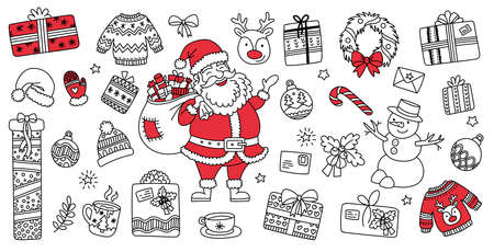 Set hand drawn Christmas elements doodles. Season greeting decor for your greeting card santa, gifts, reindeer, snowman. Linear graphic. Vector illustration 向量圖像