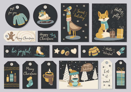 Set of modern hand drawn christmas gretting cards and tags with animals and other isolated elements. Vector illustration. Illustration