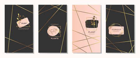 Collection of modern card design with fashionable . Luxury business identity style. Geometric shape. Made with golden foil. Vector.