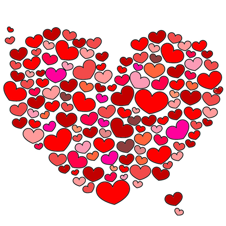 14 feb: Zoom of hearts, many little heart in one Stock Photo