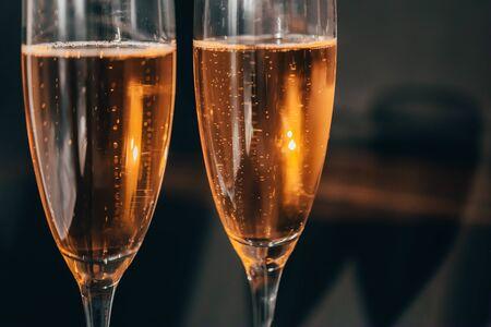 Champagne on black background.