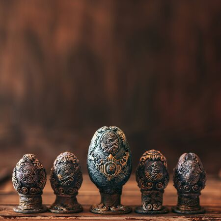 vinage Easter eggs decorated with papier-mache hand made Foto de archivo