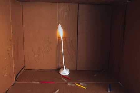 Markers and lamp are in large box.