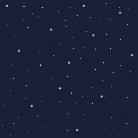 Night sky with multi-colored stars, multi-colored garlands. vector