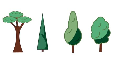 Several interesting different tree icons. on white background Illustration
