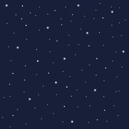 Night starry sky, falling snow. dark blue color vector. Banque d'images - 150089506