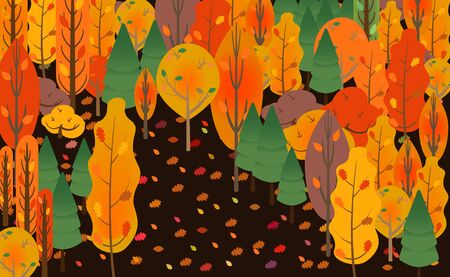 Beautiful autumn forest with falling leaves, autumn time. Illustration