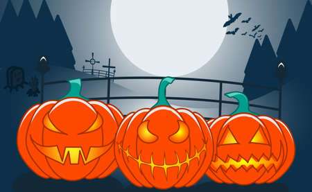 Three orange pumpkins with scary faces, fir forest background, big moon, scary background happy Halloween.