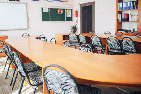Empty school class during school holidays, back to school, children education.