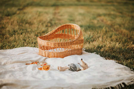 Picnic in the park on the weekend, family leisure, summer time, nobody. Banque d'images