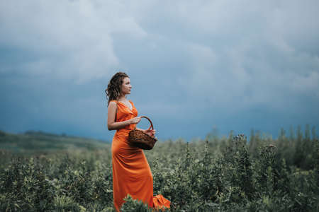 A girl in an orange dress with a basket walking along the field against the background of grass and clouds.