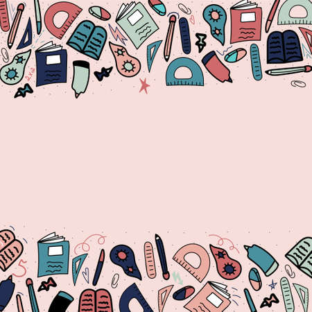 Hand-drawn sketch of school supplies top and bottom, place in the middle for text, back to school.