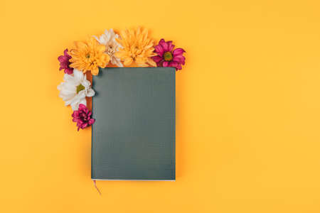 Mix of different colors next to a black notebook, a gift for any occasion, a gift to your loved one on a yellow background.