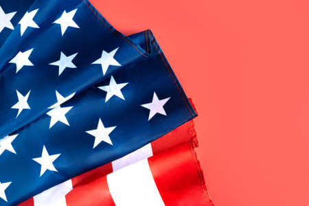American flag in the corner on red background. Fourth july concept. Banque d'images