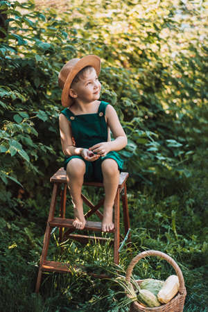 Boy in overalls sitting on stepladder and eating berry.