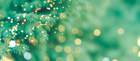 Christmas tree background with new year lights. Banque d'images