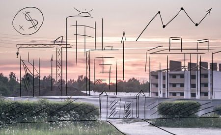 urban planning: Development plan for the building of the drawing area at sunset  Background