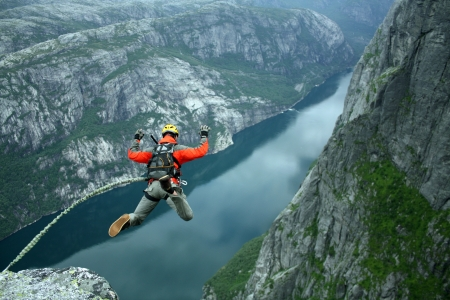 caida libre: Cuerda de salto Foto de archivo