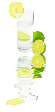 mineralized: Glass with water ,lime and reflection