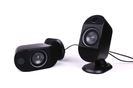 Two black small speakers, beautyful photo