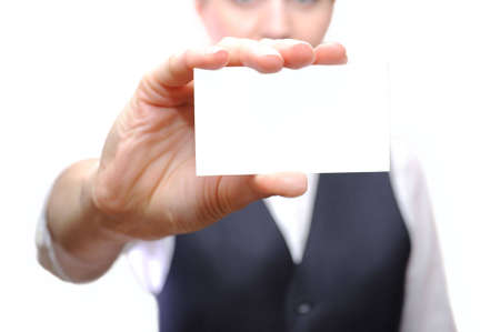 Businesswoman showing a business card Stock Photo - 7675140