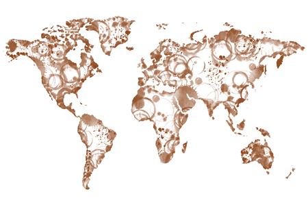 coffee: World coffee map made from coffee spot