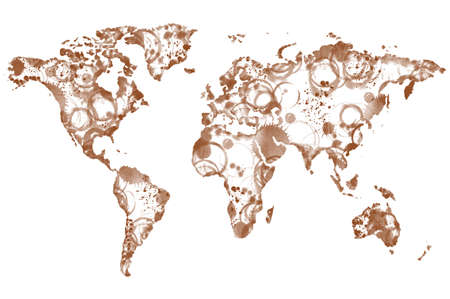 spilling: World coffee map made from coffee spot