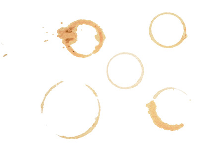 Coffee cup stains on the white background photo