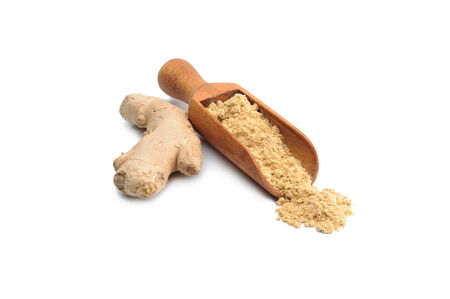 milled: Milled ginger on the white background Stock Photo