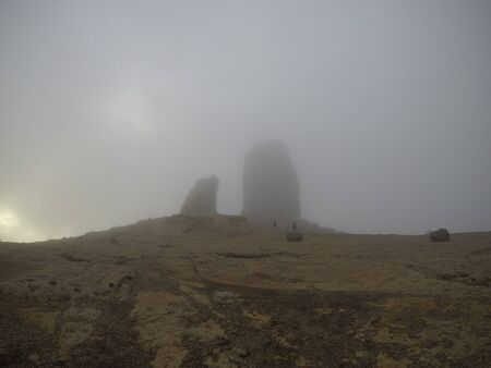 fog at the top of gran canaria 스톡 콘텐츠