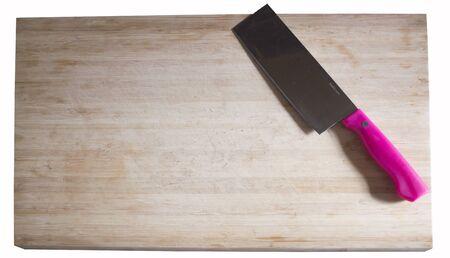 Snijplank roze mes Stockfoto