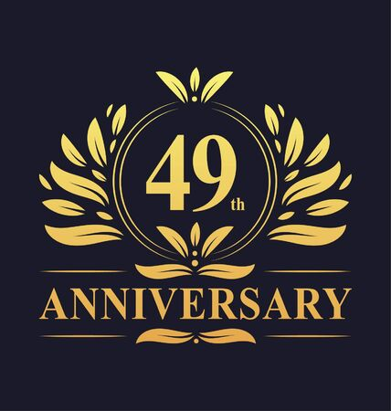 49th Anniversary Design, luxurious golden color 49 years Anniversary logo design celebration. Illustration