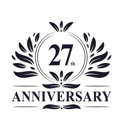27th Anniversary celebration, luxurious 27 years Anniversary logo design.